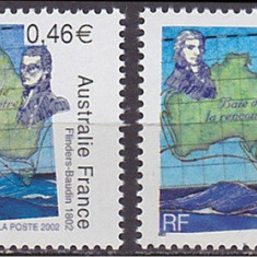 Franta, emisiune comuna Australia, corabii, harti, 2002, MNH