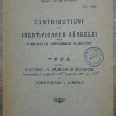 Contributiuni la identificarea sangelui…/ teza doctorat 1935