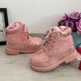 Cumpara ieftin Ghete imblanite - bocanci roz cu sclipici pt fetite / copii 24 25 27 28, Fete