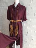 Rochie lunga Public - burgundy marime 38, crapata pe laterale
