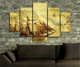Cumpara ieftin Tablou decorativ multicanvas Miracle, 5 Piese, Piratii din Caraibe, 236MIR1900, Multicolor