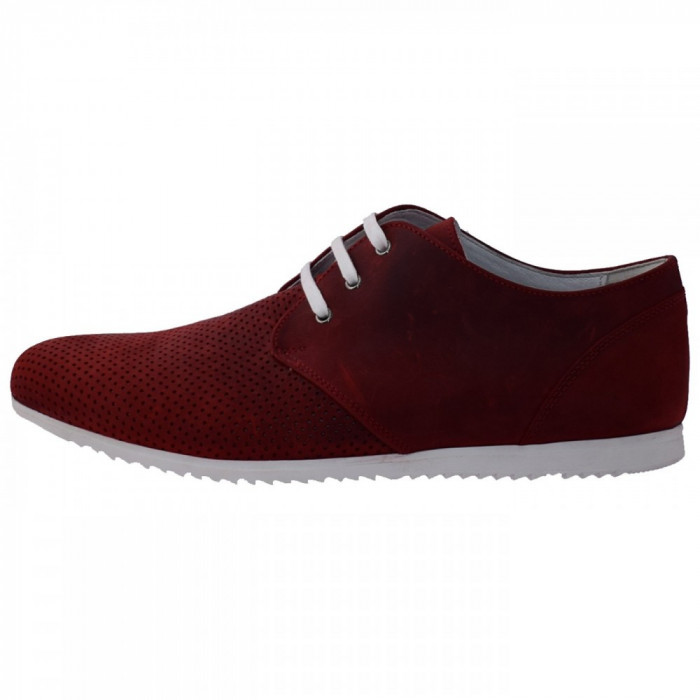 Pantofi barbati, din piele naturala, marca Conhpol, 1234S-05-40, rosu 45