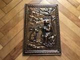 Tablou,placheta rustica franceza cu cioban si oi,basorelief in cupru
