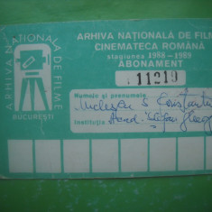 HOPCT ABONAMENT  ARHIVA NATIONALA FILME BUCURESTI -CINEMATECA ROMANA 1988-1989