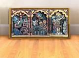 Tablou Icoana sculptata lemn dimensiune mare, tablou 3D sculptura pictat pe lemn