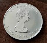 CANADA - 5 Dolari 1988 Dollars - Maple Leaf - argint 31.1 gr. - 999/1000