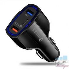 Incarcator Masina Samsung Galaxy A3 Dual USB Si USB Tip C Negru foto