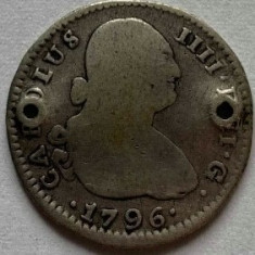 SPANIA 1 REAL/REALES 1796,CN.,,AG.812,,CHARLES IV.,,KM#429.2