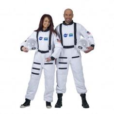 Costum Astronaut naveta spatiala, casca inclusa, unisex, adulti, alb