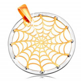 Cumpara ieftin Pandantiv din aur 14K - pânză de păianjen în contur de cerc, aur galben și alb