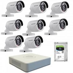 Kit de supraveghere cu 8 camere exterior Hikvision TurboHD DS 2CE16C0T IRPF 1 MP IR 20 m 2.8 mm + DVR Turbo HD Hikvision 3.0 DS 7108HGHI F1 8 canale 1