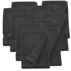 Set 10 prosoape frottir HTHT-1005, 30 x 50 cm, bumbac, negru