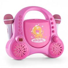 Auna Rockpocket-A PKSistem de karaoke pentru copii,CD AUX MIC 2X baterii reîncărcabile, culoare roz Auna