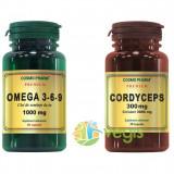 Omega 3-6-9 Ulei din Seminte de In 1000mg Premium 60cps + Cordyceps Premium 30cps Pachet 1+1