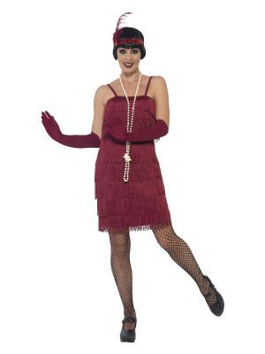Costum anii 20 Flapper visiniu pentru adulti foto
