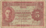 1945, 5 cents (P-7a) - Malaya!