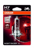 Bec moto blister pachet 1 bucata H7 12V 55W PX26D pana la 20m ; pana la 90% luminozitate mare Night Racer 50% Moto, OSRAM
