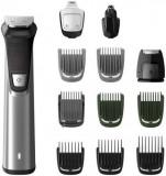 Aparat de tuns barba Philips Multigroom Series 7000 12 in 1 MG7735/15, Autonomie 120min, Tehnologie DualCut (Negru/Argintiu)