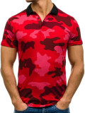 Tricou polo pentru bărbat camuflaj-roșu Bolf 1126