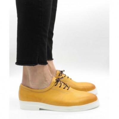 Pantofi piele naturală 546 Galben 44 foto