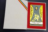 Placheta rara Federatia romana de fotbal FRF - medalie Italia 1990 Campionatul