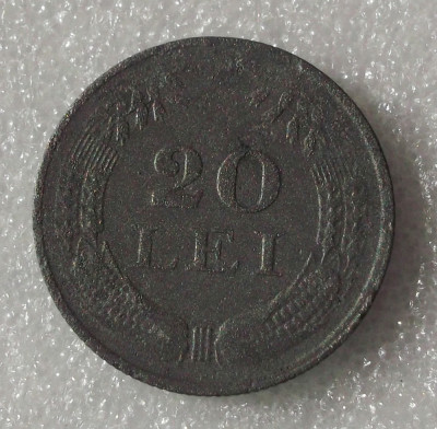 G5. ROMANIA 20 LEI 1942, 6 g., Zinc, 26.3 mm, Mihai I ** foto
