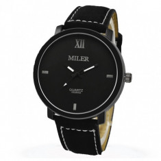 Ceas Miler CS123, curea piele, model casual, cadran negru