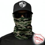 Bandana/Face Shield/Cagula/Esarfa - Green Military Camo, made in USA, Din imagine