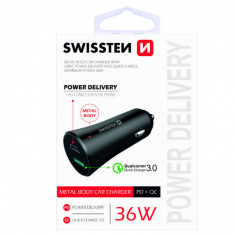 Incarcator Auto Cu USB Si USB C Quick Charge 3,0 36W Samsung Huawei LG Asus Negru
