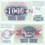 1992 ( 1 VII ) , 1.000 dinara ( P-15s ) - Bosnia și Herțegovina - stare UNC