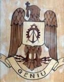 Cumpara ieftin Emblemă militară - arma Geniu (placaj și furnir, lăcuit)