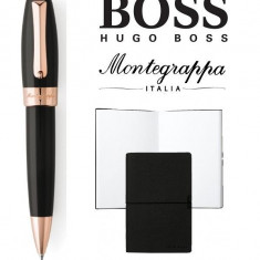 Set Fortuna Black Rose Gold Ballpoint Montegrappa si Note Pad Hugo Boss