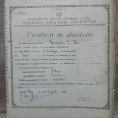 Certificat absolvire Universitatea Regele Ferdinand I Cluj, 1947