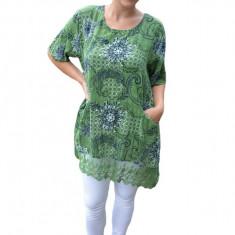 Bluza dama Inna cu imprimeu si insertii de dantela ,nuanta de verde, 50, 52, 54, 56