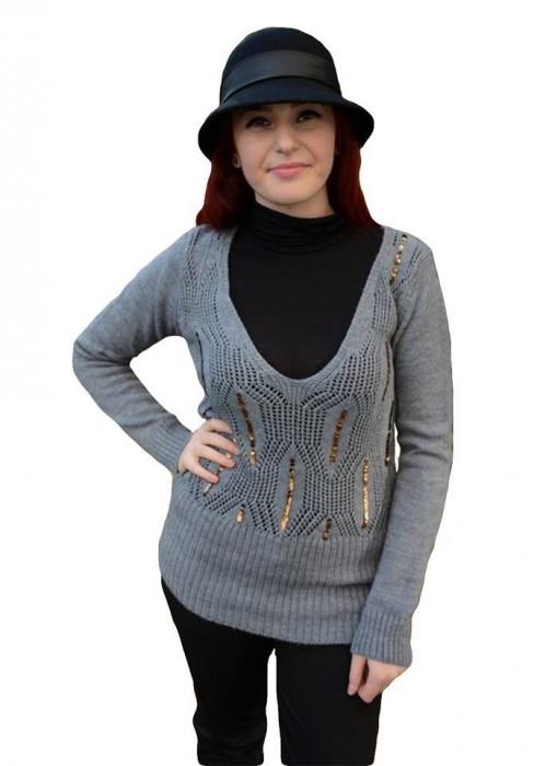 Bluza clasica, din tricot subtire cu model ajurat, de nuanta gri