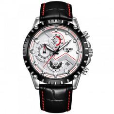 Ceas barbatesc Lige, mecanism Quartz, curea din piele neagra, rezistent la apa 3ATM(30m), calendar, chronograph, stil Sport