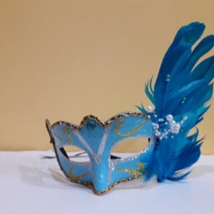 Masca venetiana de petrecere albastru, Marime universala, happy people