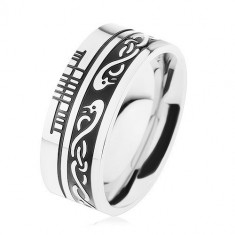 Inel lat, oţel 316L, fâșie neagră, model celtic, suprafață argintie - Marime inel: 67