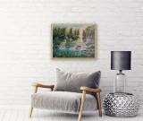 """PICTURA,TABLOU modern romanesc,decorativ,""""Nuferi roz pe lac"""",nou, rama deosebita"""