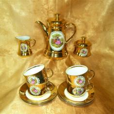 Set ceai cafea portelan, Fragonard, aur coloidal, colectie, vintage