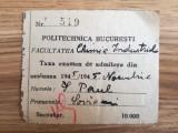 1945, Politehnica Bucuresti, Taxă examen admitere, Facultatea Chimie Industrială