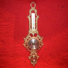 Ansamblu meteo din bronz  barometru hidrometru si termometru 59x17,5 cm