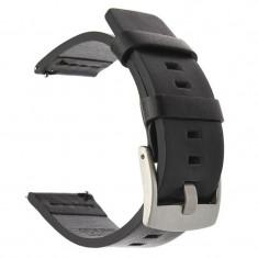 Curea din piele naturala pentru Samsung Gear Sport, Telescoape QR, 20mm, Negru/Argintiu