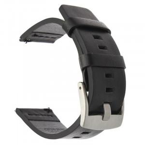 Curea piele naturala, compatibila Huawei Watch Generatia 1, 18mm, Negru Argintiu