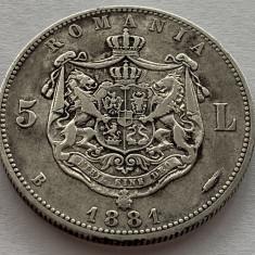5 Lei 1881 Domn, Argint, Romania VF. Frumoasa