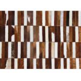 Covor de lux din piele, maro alb, patchwork, 69x140, PIELE DE VIT TIP 5