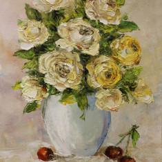 Pictură `Trandafiri albi şi cireşe`