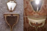 noptiera/consola cu aplica-oglinda baroc venetian,100ani,Italia,pictata(am 2)