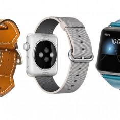 Set 2+1 Gratis, Curele Apple Watch iUni 42 mm Nylon White Gray, Piele 4 in 1 Cuff Maro, Piele 4 in 1 Cuff Albastru