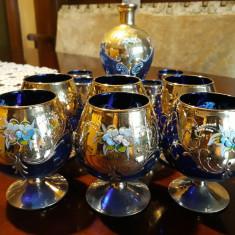Set 6 pahare aperitiv si 6 pahare vin + sticla cristal albastru pictate manual